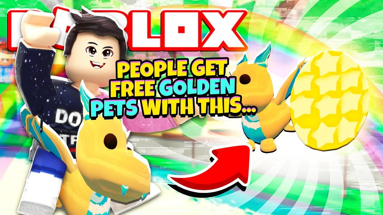 People Use This Free Trick For Golden Pets In Adopt Me New Adopt Me Golden Pets Update Roblox In 2020 Roblox Pets