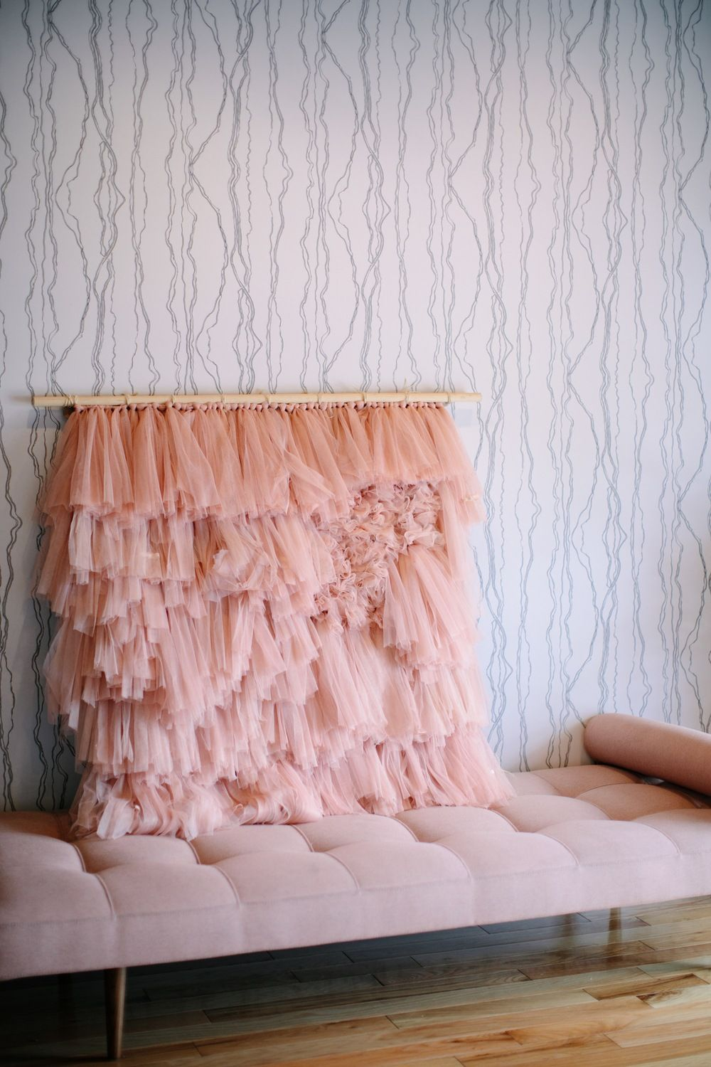 DIY Tulle Wall Hanging #weaving