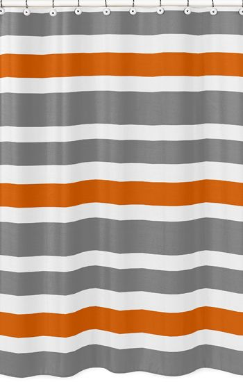 Modern White Gray And Orange Stripe Bathroom Fabric Bath Shower