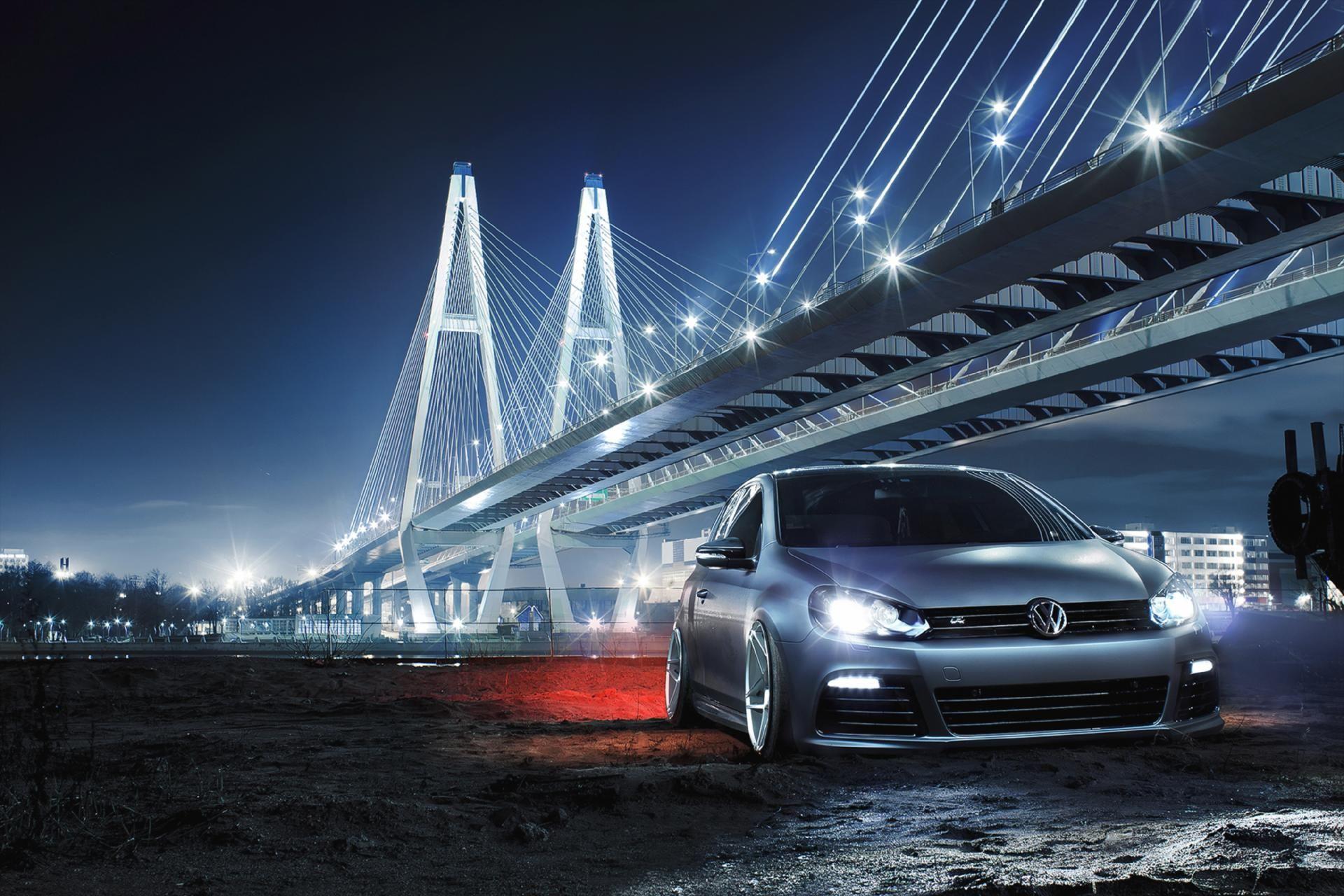 Front Car Night Bridge Volkswagen Golf R Low Car Culture Bay Bridge Volkswagen Golf R Wallpaper black volkswagen car on bridge