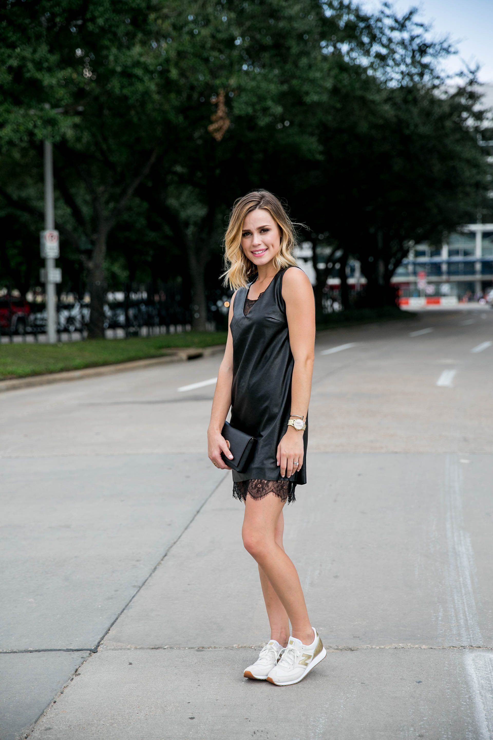 Leather Dress Sneakers Uptown With Elly Brown Dress With Sneakers Fashion Sneakers Fashion Outfits [ 2880 x 1920 Pixel ]