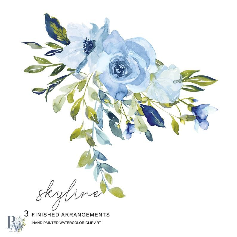 Skyline* Light Blue Turquoise Floral Clipart Watercolor Hydrangea Clipart Roses Clipart Hand Painted Bouquet #A45