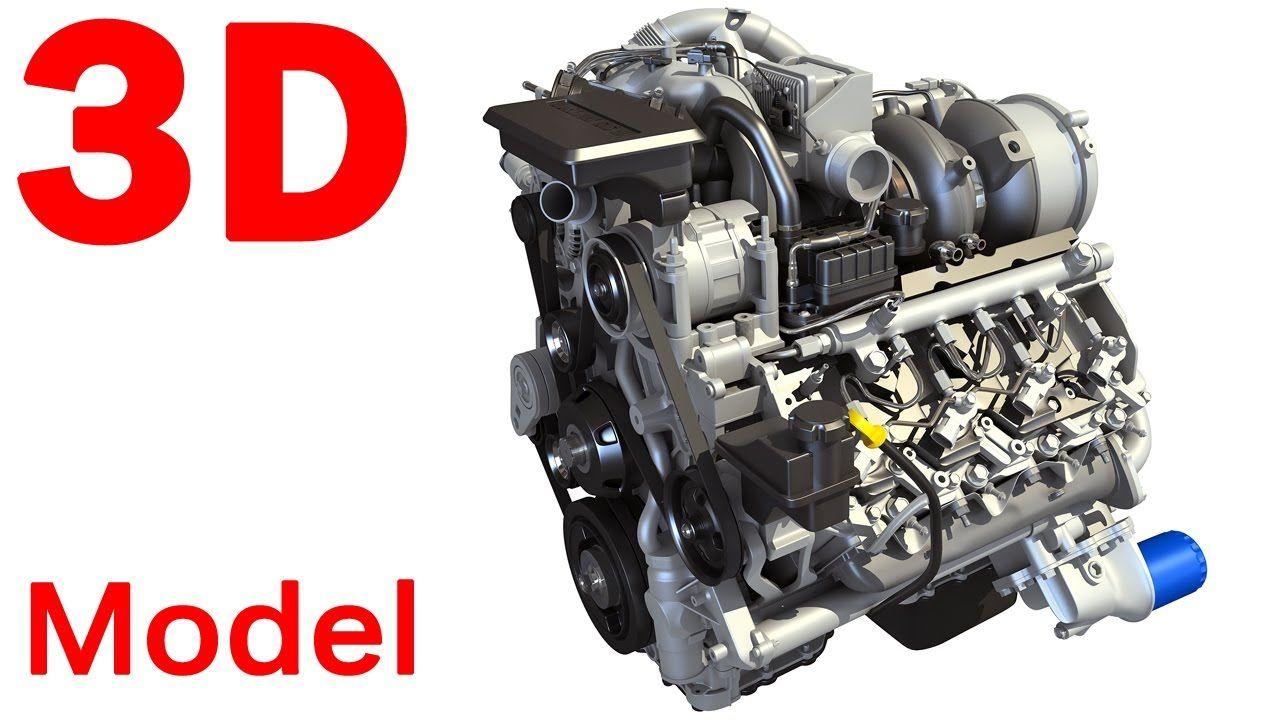 2017 2018 V8 Turbo Engine 3d Model With Images Duramax Diesel