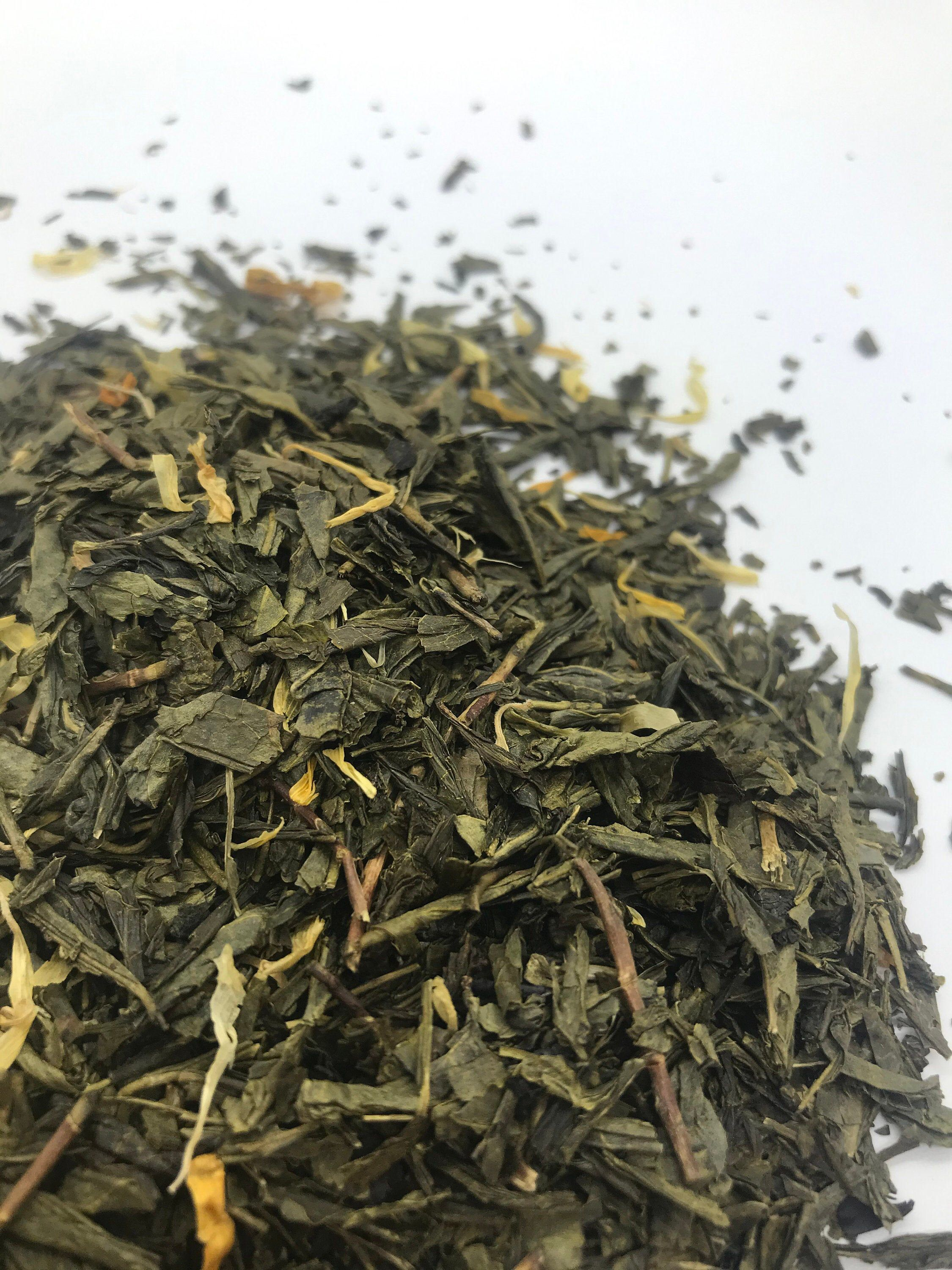Photo of Wallowa passion green tea.  Loose leaf green tea blend.