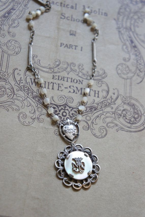 Vintage mother of pearl Notre Dame pendant necklace with mother of pearl chain by frenchfeatherdesigns on Etsy.