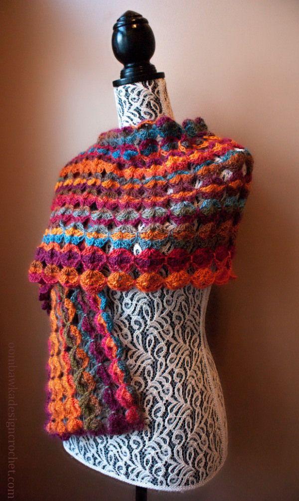 Painted Sunrise Wrap @OombawkaDesign   Wraps, Crochet and Summer