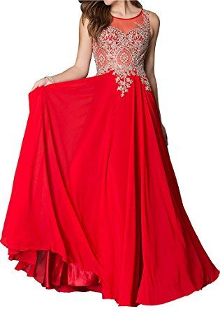 31b168b7f5f Lovelybride Embroidered Appliques A Line Chiffon Prom Dress Evening Gowns  at Amazon Women s Clothing store