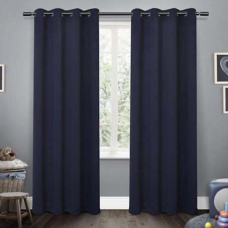 Navy Sateen Kids Curtain Panel Set 63 In