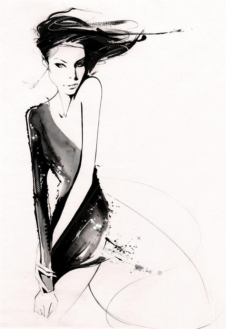Мода черно белый рисунок