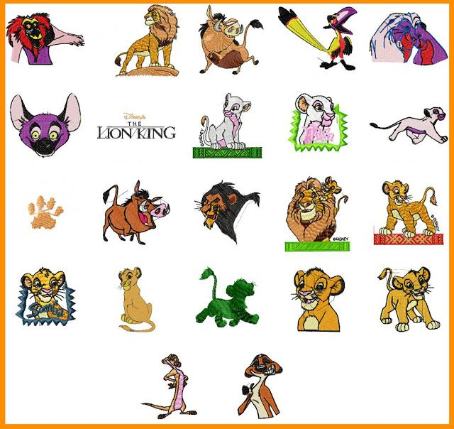 Disney Lion King - 22 designs set - Free Machine Embroidery Designs ...