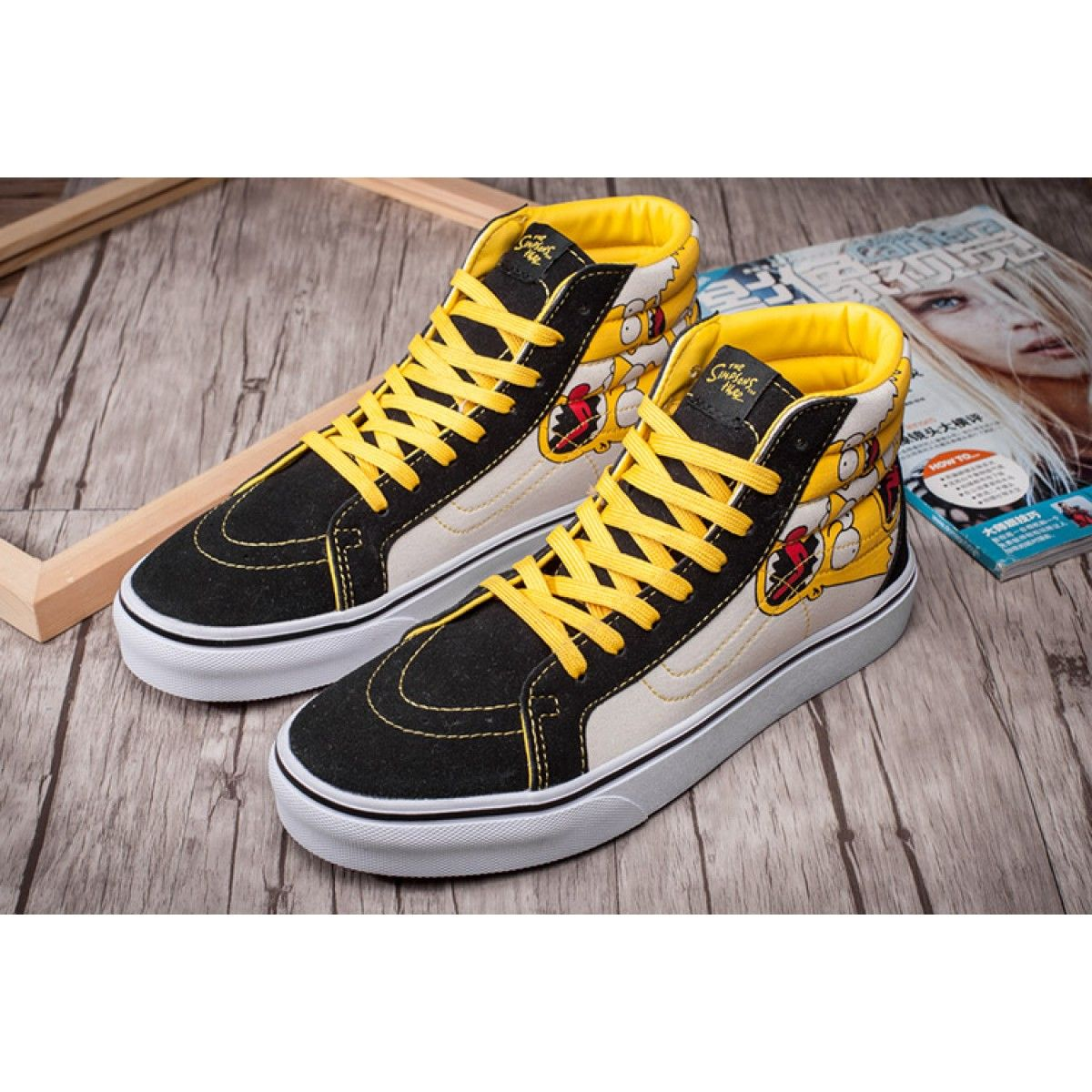 cc0e4cf608 The Simpsons X Vans SK8-Hi Skate Shoes Yellow Black  Vans ...