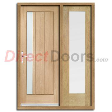 Trieste Exterior Oak Door and Frame Set with One Side Screen and ...