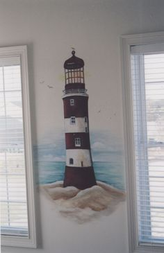 Lighthouse Wall Painted Google Search Mural Wall Art Living Room Themes Lighthouse Painting