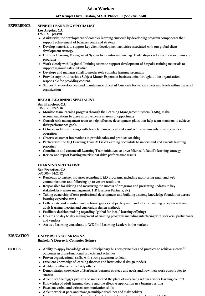 Computer Support Specialist Resume Lovely Learning