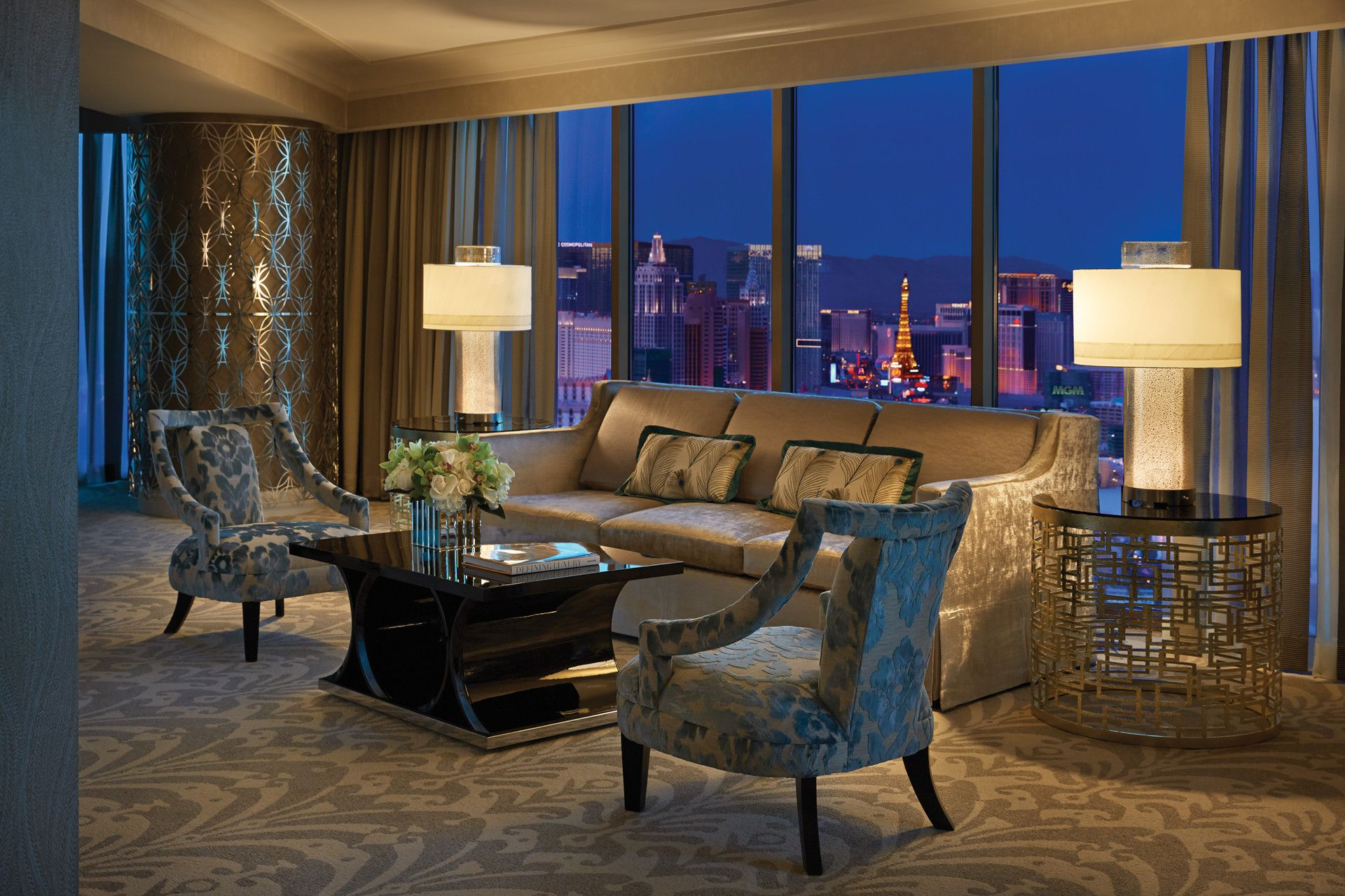 The Presidential Strip-View Suite offers stunning views of the glittering Strip and its iconic marquees through floor-to-ceiling windows.