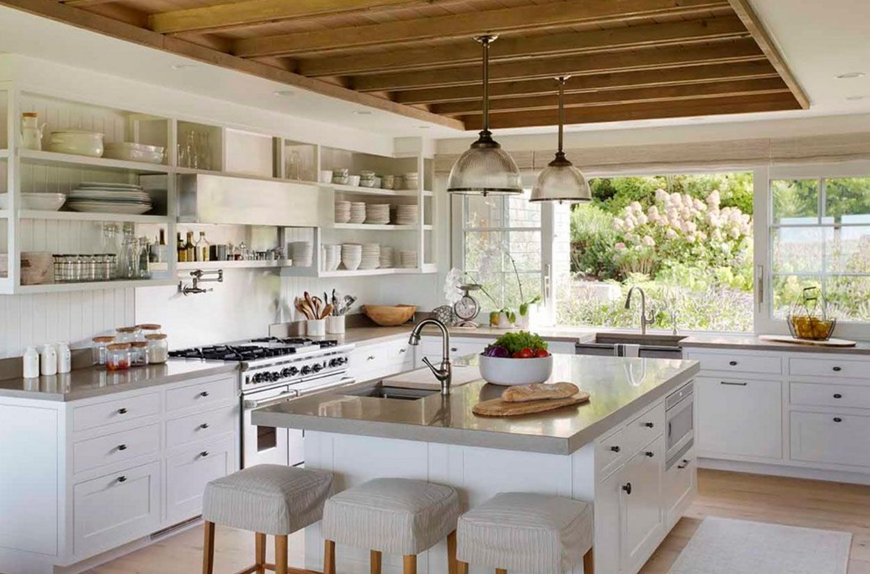 Rustic Kitchen Large Island Concrete Countertop Exposed Wood Finishes Pendant La Modern Kitchen Furniture Concrete Countertops Kitchen Farmhouse Kitchen Colors