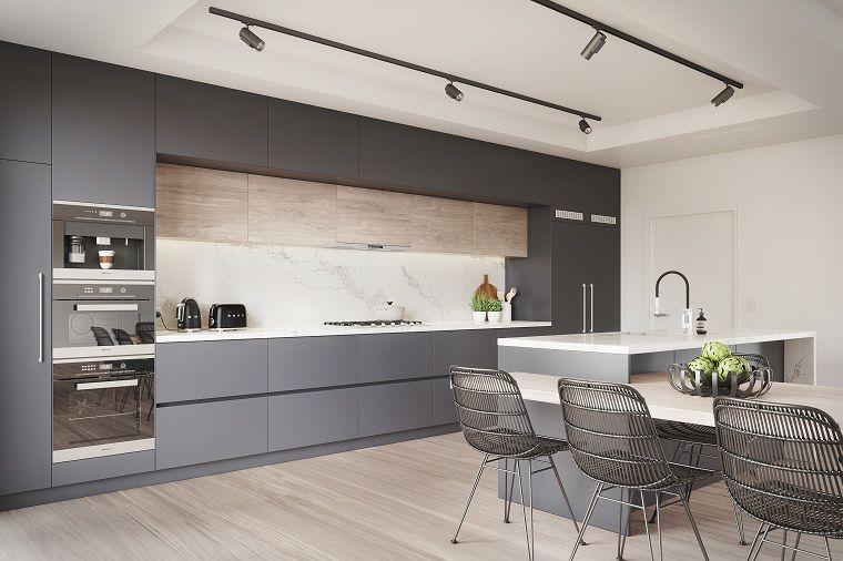 Cocinas modernas blancas y grises 20 dise os for Cocinas diseno blancas