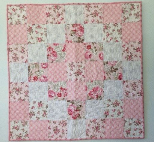 Handmade Baby Quilt Pink Roses Baby Girl Quilt Baby Shower   Etsy
