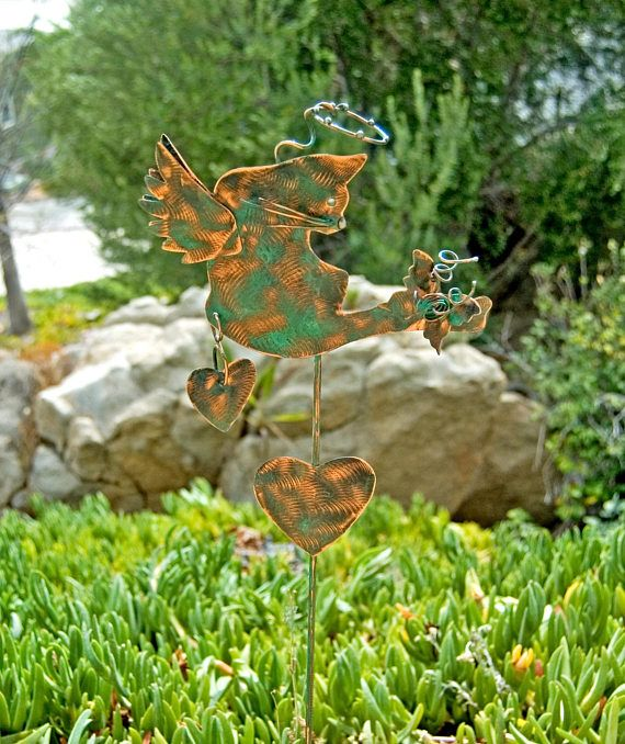 Cat Memorial Garden Art Stake Metal Yard Art Copper Pet