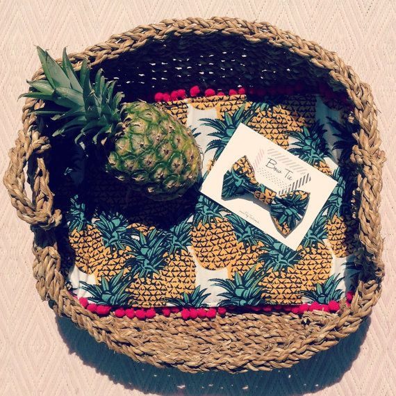 Pineapple Print Vintage Cat/Pet Bed by PupTartHandmade on