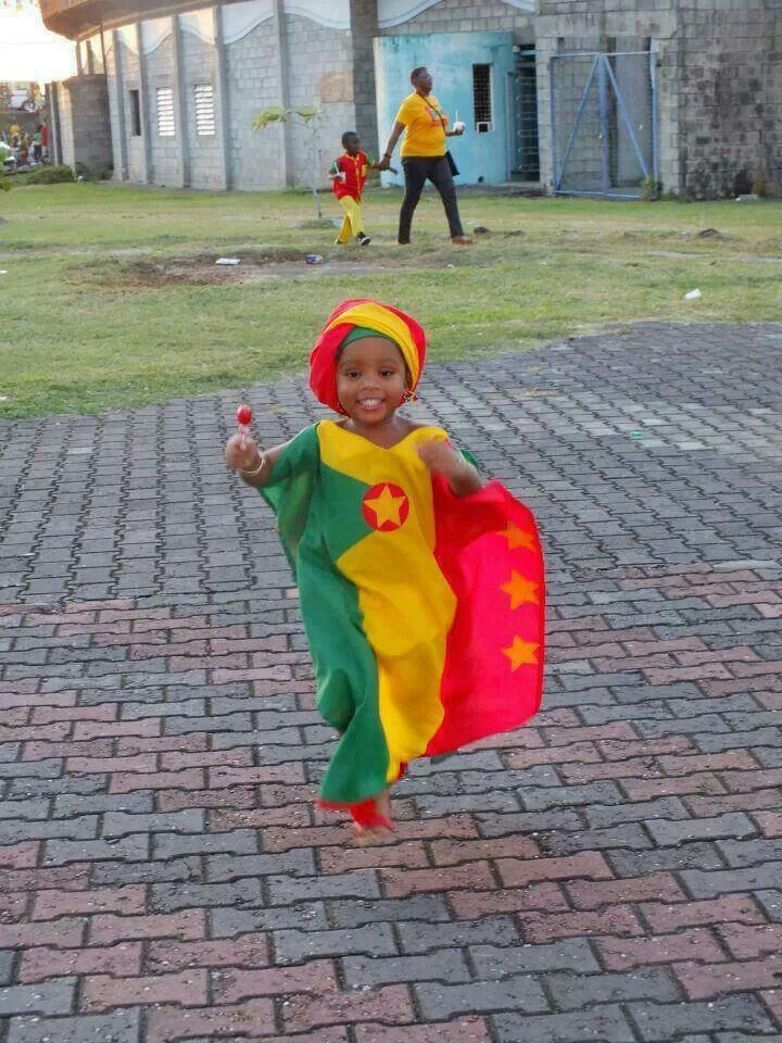 A little girl at the National Stadium in Grenada