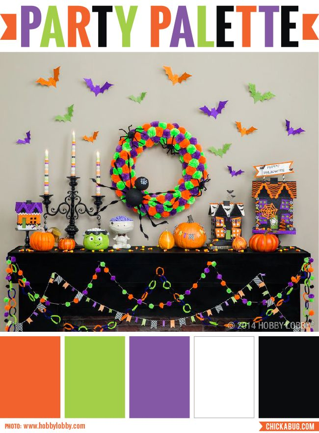 Party Palette Happy Halloween room decor Pinterest Pom pom - hobby lobby halloween decorations