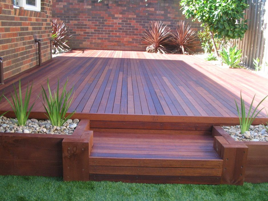 Backyard decking shamrock landscaping and design for Deck garden box designs