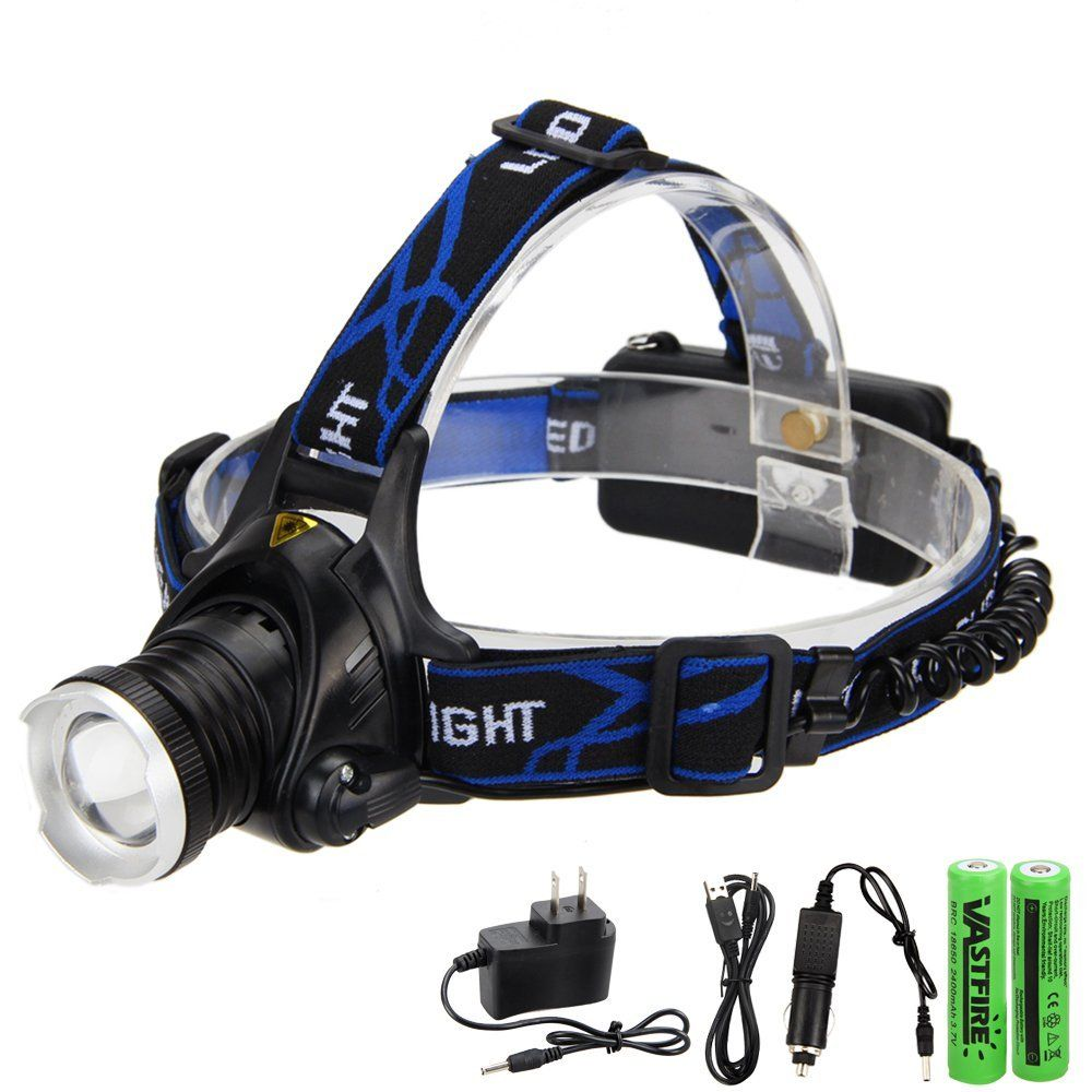 VastFire 800 Lumens XM-L T6 LED Zoomable Headlamp Head Light Reading Camping Caving Working Hiking Outdoor Recreation Sports USB 2X18650 Battery Car Charger (White). 3 SWITCH MODE: Bright Light / Dim Light / Flashing Mode.Colour: black with blue band. WITH adjustable and elastic head band for conveniently put on or take off.Waterproofing design. RED INDICATOR LIGHT on the battery holder plays a good warning role in night walking or cycling. DURABLE aluminum alloy material casing and...