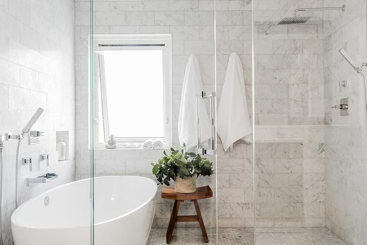 Oval Bathtub In Gl Walk Shower Tub Combo Bathroom Marble