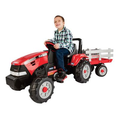 Peg Perego Case International Kids Ride On Pedal Harvester Tractor and Trailer -- Model# IGCD0554