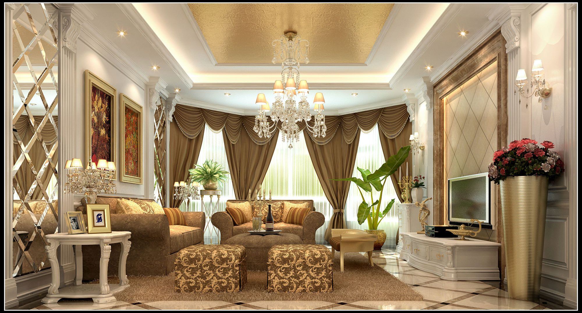 Luxurious Living Room With Curtains Luxury Curtains Living Room Luxury Living Room Chandelier In Living Room