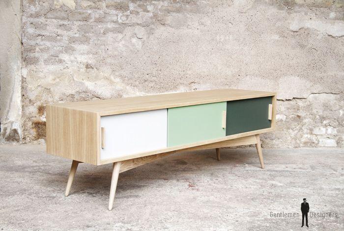 Creation sur-mesure // meuble tv chene 3 portes 150cm / ref-mtv-07 ...