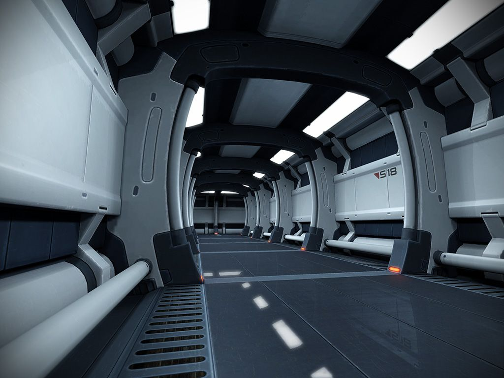 Sci fi hallway sebastian schr der futuristic for Sci fi decor