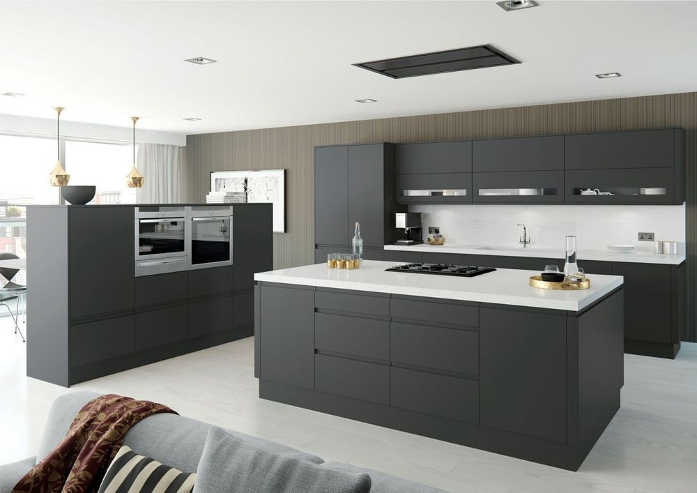 Moda Anthracite DarK Grey Matt Handleless Complete Flat Pack Kitchen - Dark grey matt kitchen