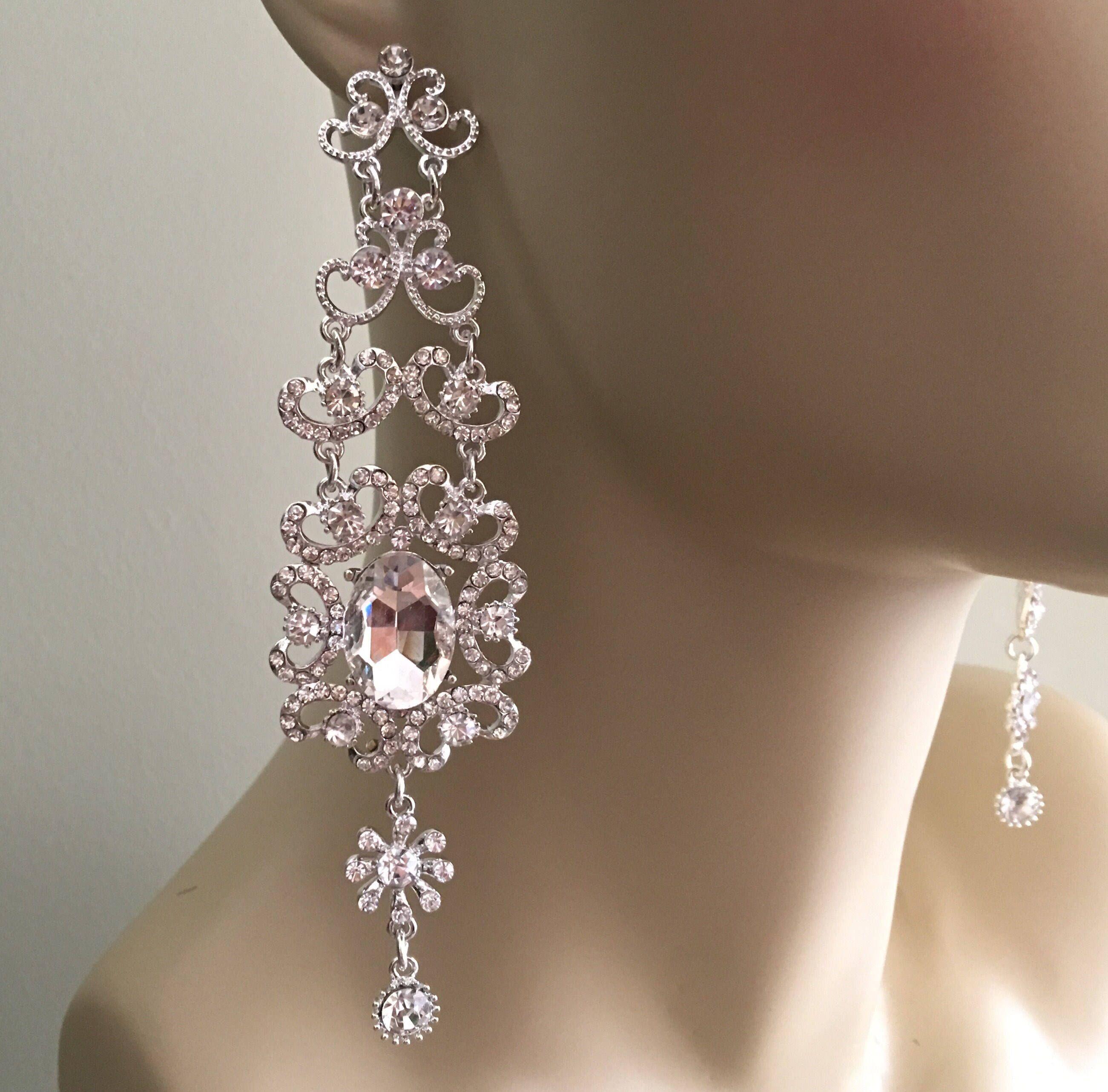Long Chandelier Earrings Silver And Clear Long Rhinestone