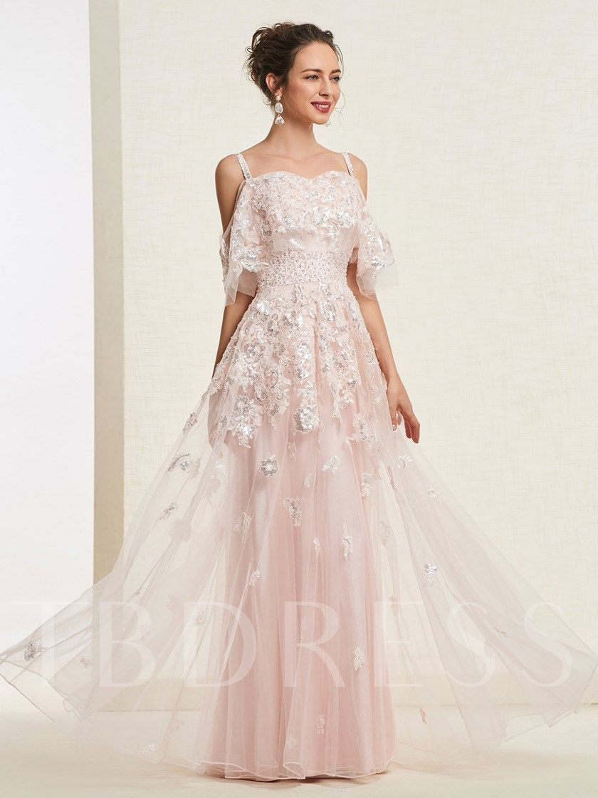 6734377649 A-Line Appliques Straps Short Sleeves Beaded Evening Dress in 2019 ...