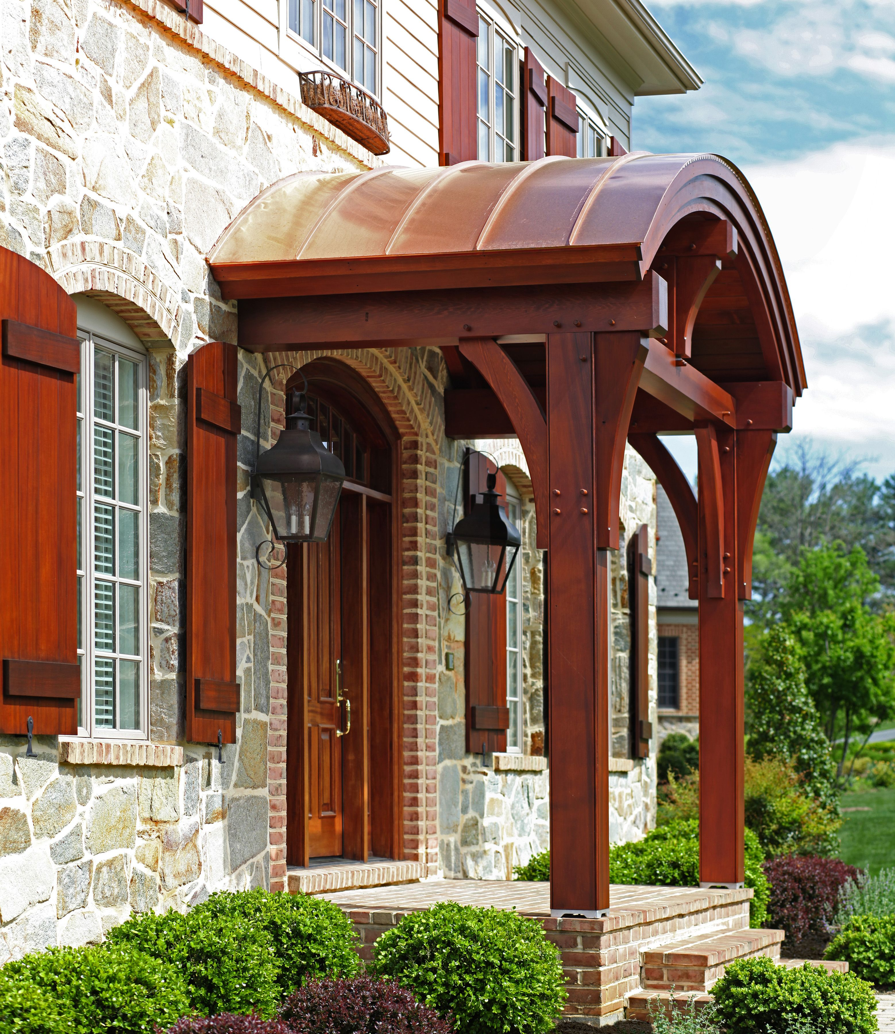 Timber Framed Clear Cedar Porch With Standing Seam Copper