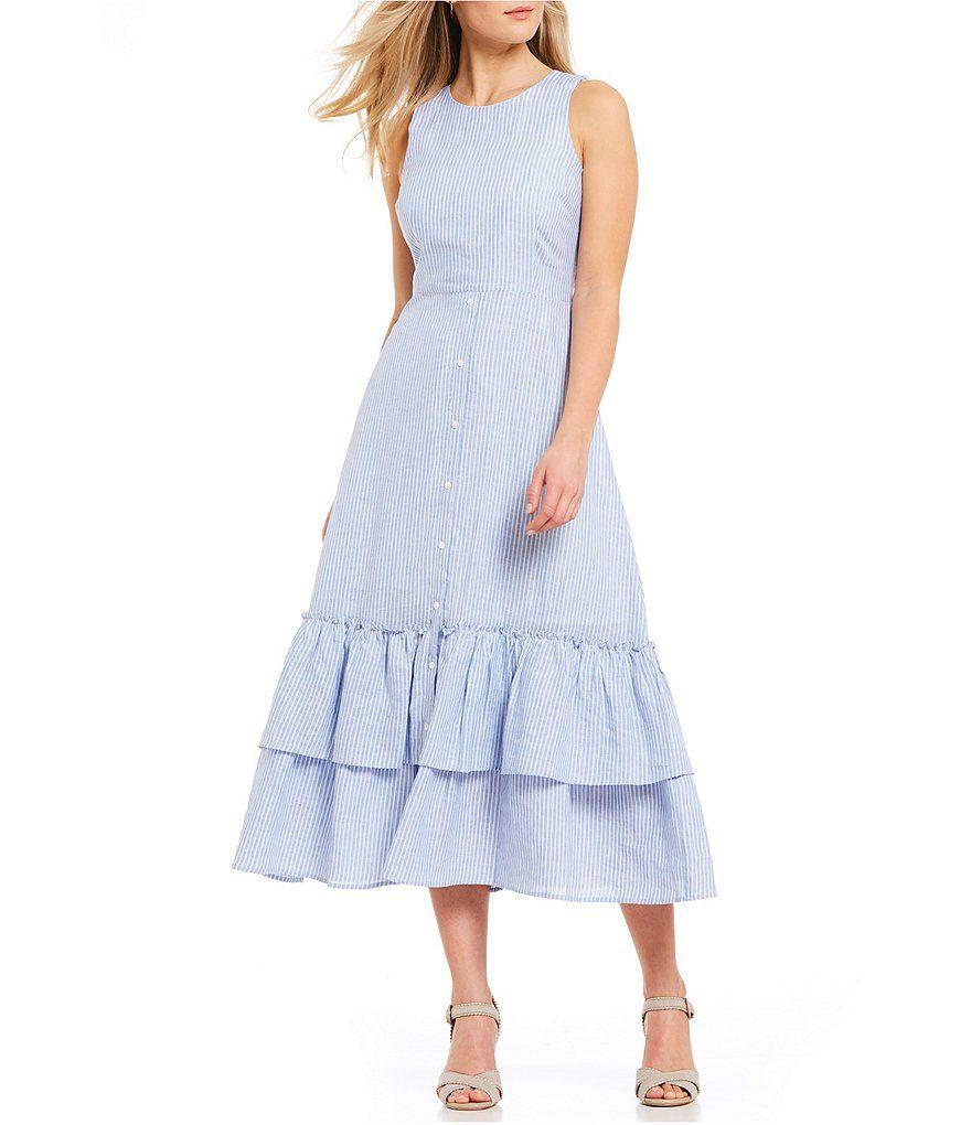 37b74cd6ca3 Antonio Melani Juliet Pinstripe Tiered Ruffle Flounce Hem Linen Midi Dress