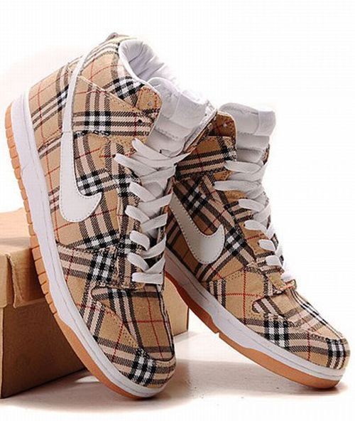 Nike Dunk High Top Men Shoes Burberry Scotland Style