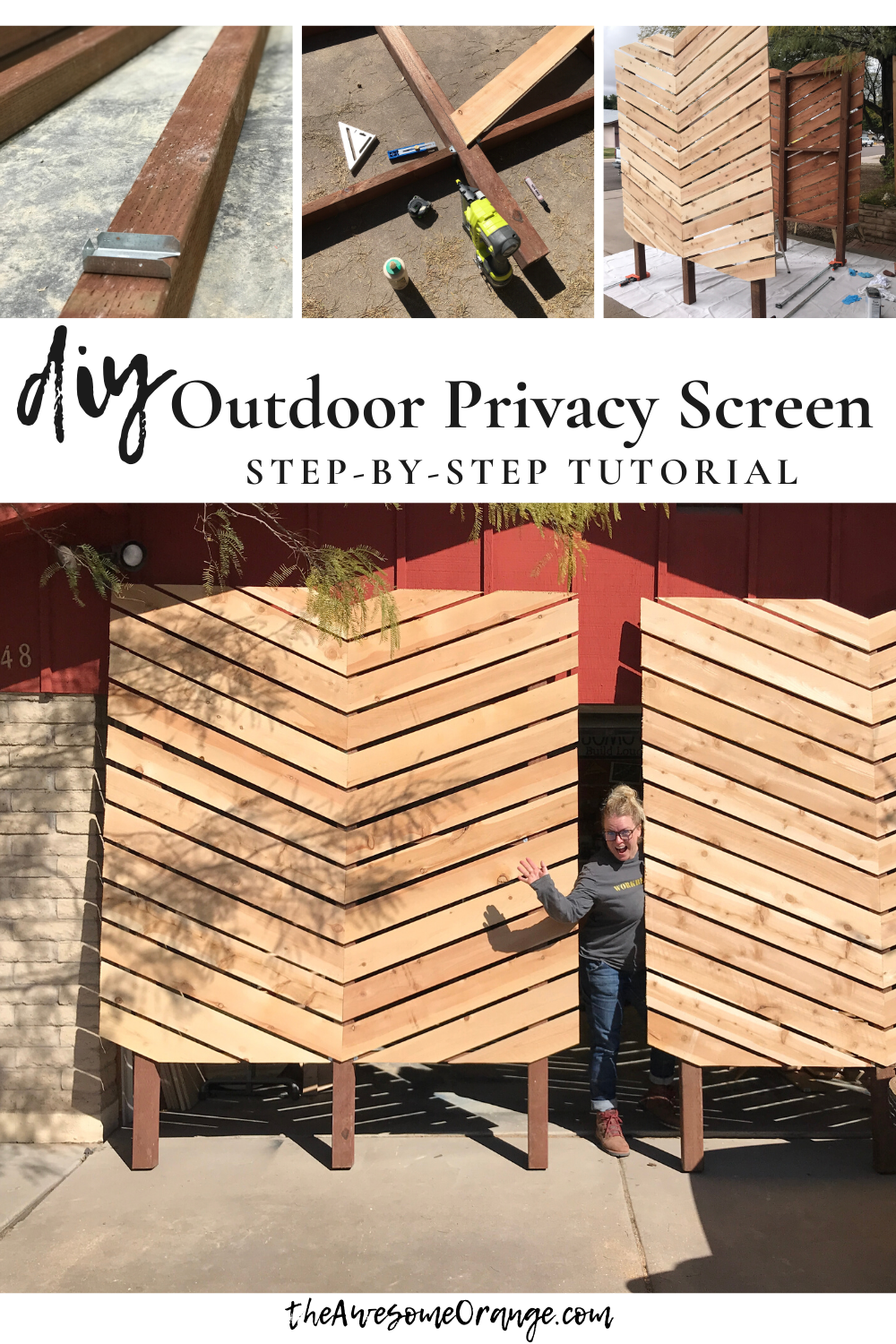 Step-by-step tutorial with printable plans to help you build your own Outdoor Privacy Screens! #diy #outdoor #privacyscreen #chevron #lanscapedecor
