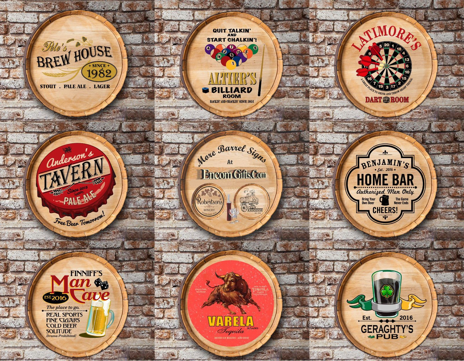 Personalized Oak Wine Barrel Top Sign Home Bar Man Cave Restaurant