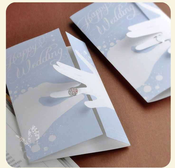 2013 Creative Blue Elegant Design Korean Wedding Invitations Fold