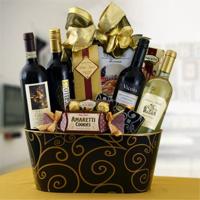 Love wine baskets for gift ideas.