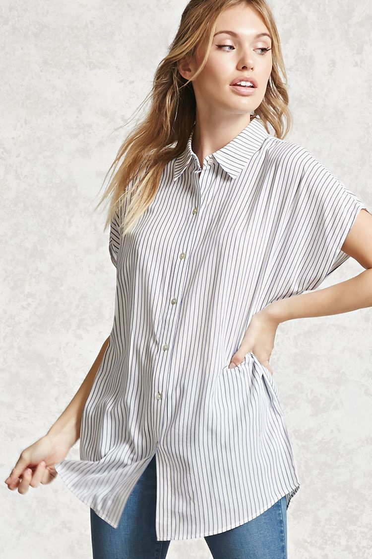 Forever 21 Contemporary A Woven Oversized Shirt Featuring A