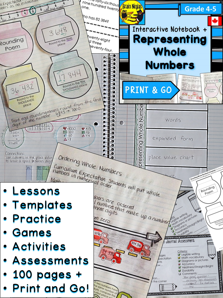 Representing Whole Numbers Interactive Notebook Grades 4 5 Math