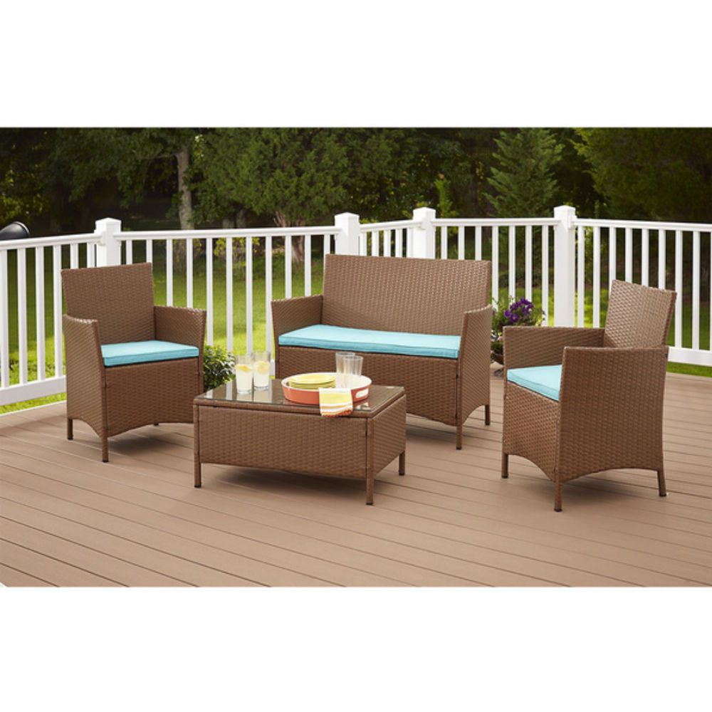 Cosco Dorel Industries Outdoor Jamaica 4pc Resin Wicker Complete Patio Set