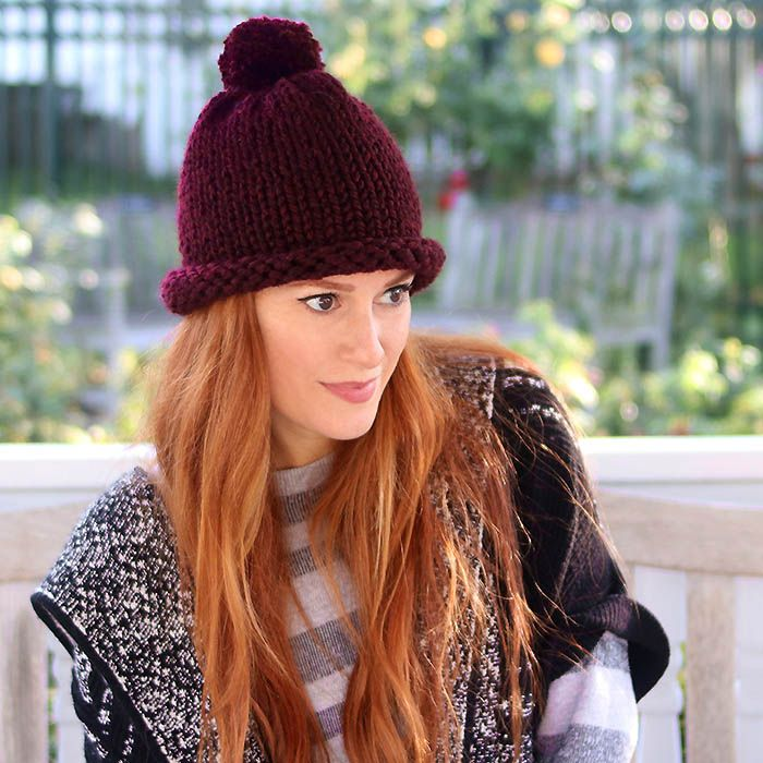 1 Hour Hat Free Knitting Pattern- Women and Men Sizes (Gina Michele)