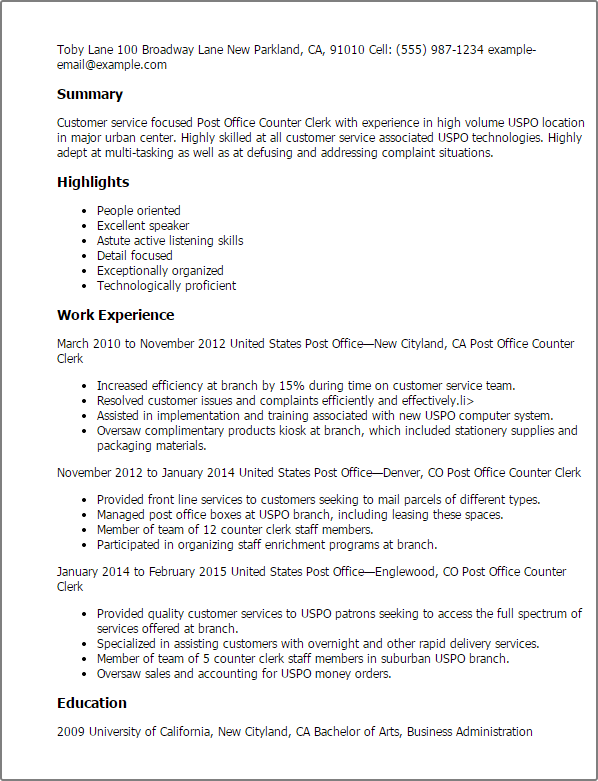 Resume Templates Post Office Counter Clerk Sample Resume Basic Resume Basic Resume Examples