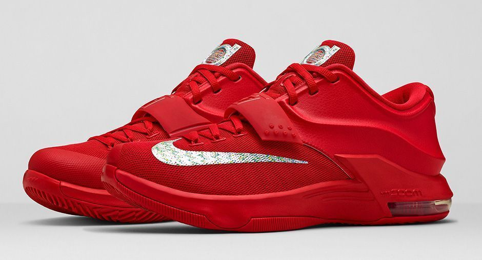 "18fbe46e8e Nike KD VII 7 Global Game Action Red Metallic Silver Size 15.0 Nike  BasketballShoes; Cheap Nike Kevin Durant KD 7 VII ""35000 Degrees"" ..."