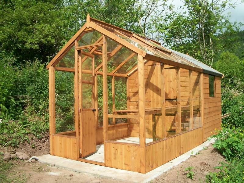 greenhouse with combined shed joinery made wood wooden